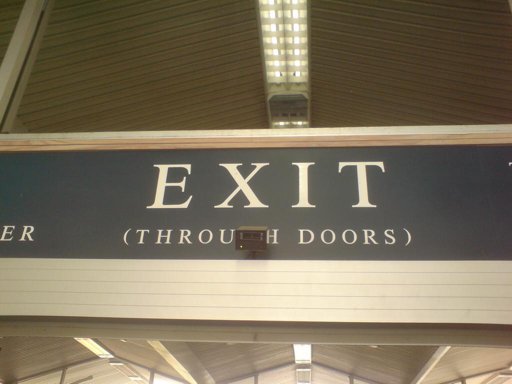 """Exit (through doors)"""