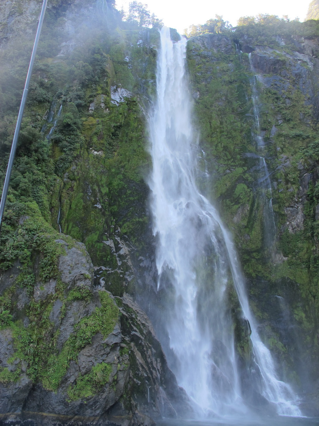 A waterfall at Milford Sound, NZ