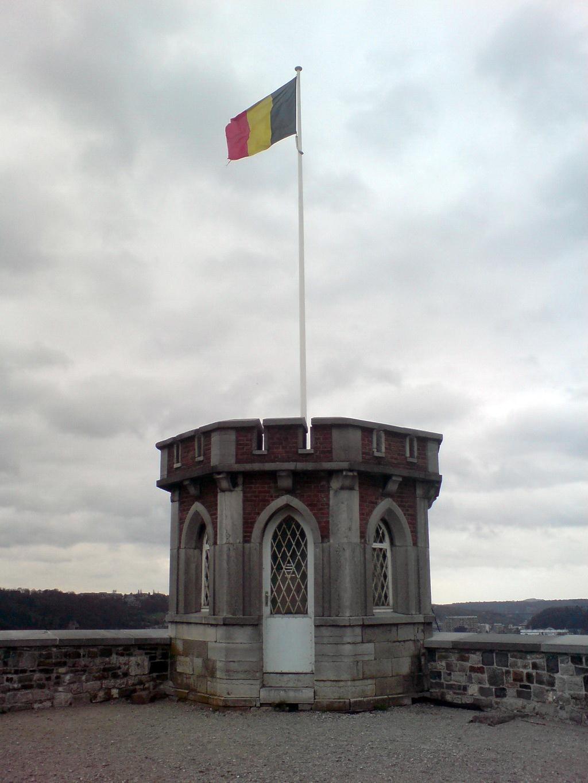 Belgian flag on a hill in Namur, BE